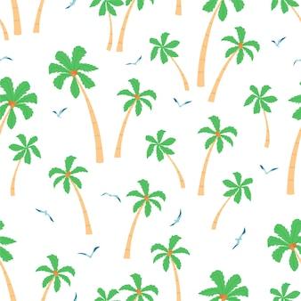 Padrão sem emenda de verão com palmeiras e gaivotas em fundo branco em estilo cartoon.