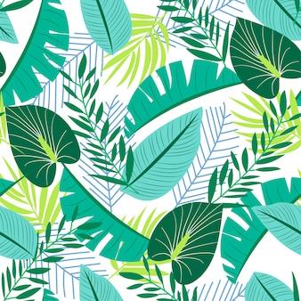 Padrão sem emenda de verão com plantas tropicais