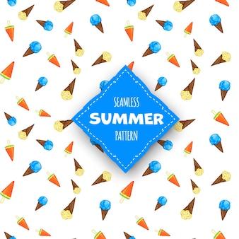 Padrão sem emenda de verão com sorvete no fundo branco. estilo de desenho animado. vetor.