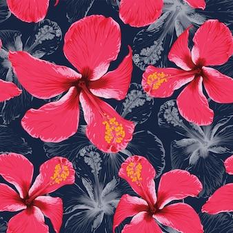 Padrão sem emenda de verão tropical com fundo abstrato de flores de hibisco.