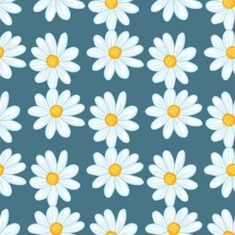 Padrão sem emenda de verão vintage com ornamento de flores bonito margarida. fundo pálido azul marinho. cenário de flor. ilustração das ações. desenho vetorial para têxteis, tecidos, papel de embrulho, papéis de parede.