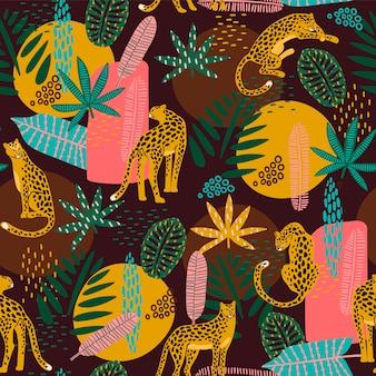Padrão sem emenda de vestor com leopardos