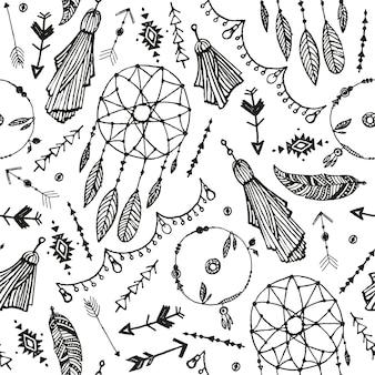 Padrão sem emenda de vetor boho. mão-extraídas o apanhador de sonhos, penas de pássaro, fundo de setas. preto e branco