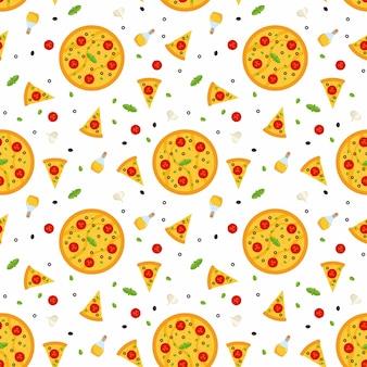 Padrão sem emenda de vetor brilhante com pizza