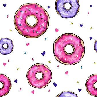 Padrão sem emenda de vetor colorido com deliciosos donuts. fundo isolado.