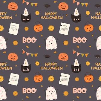 Padrão sem emenda de vetor colorido para halloween na mão desenhada estilo.