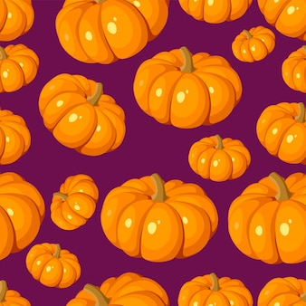 Padrão sem emenda de vetor com abóboras laranja em um roxo.