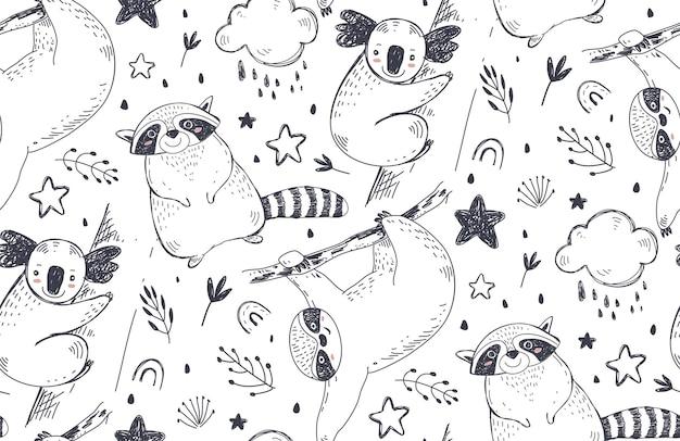 Padrão sem emenda de vetor com animais desenhados à mão. fundo preto e branco infinito