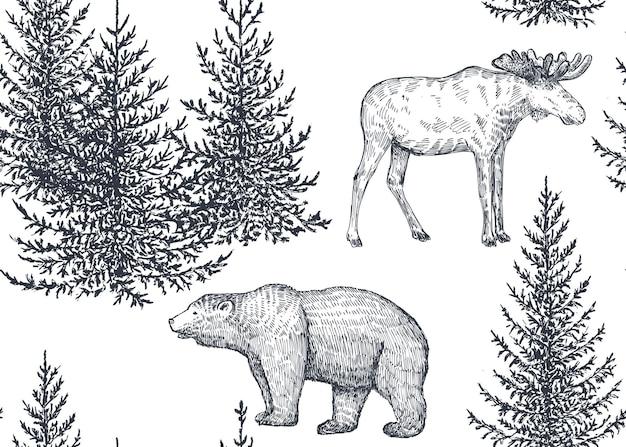 Padrão sem emenda de vetor com árvores e animais desenhados à mão. alces de urso e floresta de abetos