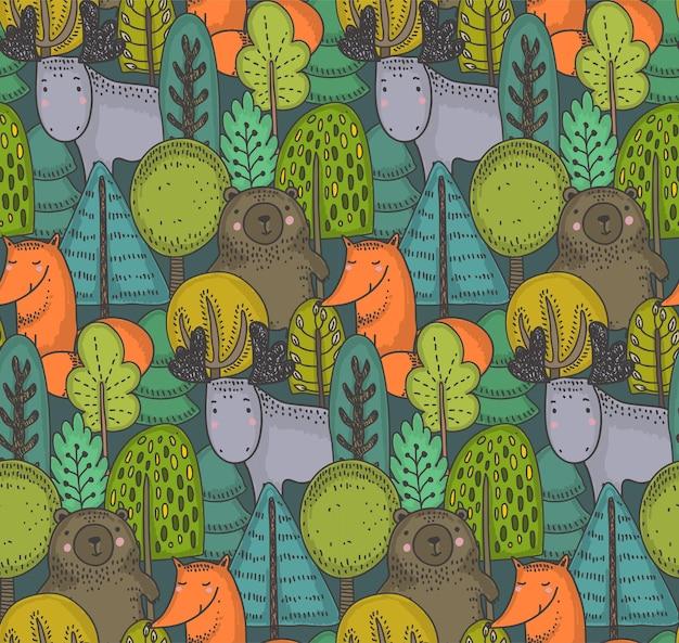 Padrão sem emenda de vetor com árvores e animais selvagens da floresta desenhada à mão