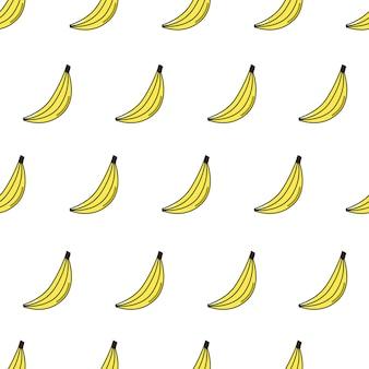 Padrão sem emenda de vetor com banana ícone de frutas repetidas em branco