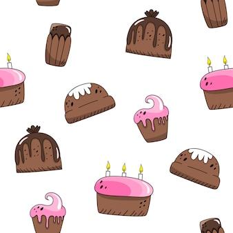 Padrão sem emenda de vetor com bolos de páscoa