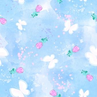 Padrão sem emenda de vetor com borboletas brancas e botões de rosa sobre fundo azul aquarela.