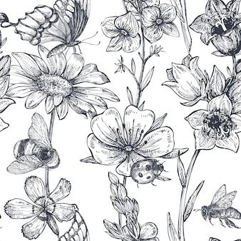 Padrão sem emenda de vetor com camomila desenhada de mão, flores silvestres, ervas, borboletas, abelha. ilustração interminável monocromática no estilo de desenho.