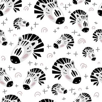 Padrão sem emenda de vetor com cara de zebra em branco