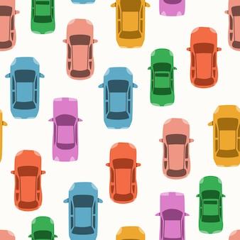Padrão sem emenda de vetor com carros de vista superior. flatley de veículos de passageiros.
