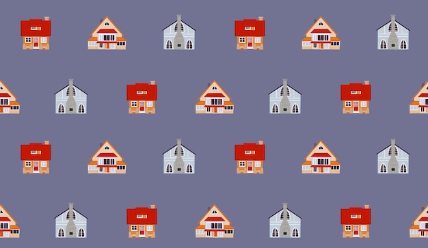 Padrão sem emenda de vetor com casas de campo