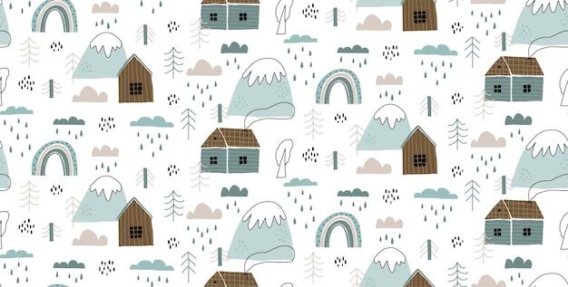 Padrão sem emenda de vetor com casas, montanhas, árvores, nuvens, chuva e arco-íris.