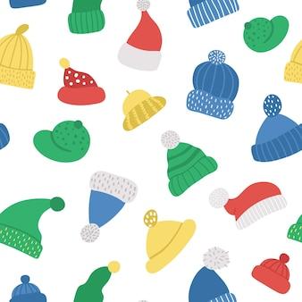 Padrão sem emenda de vetor com chapéus bonitos. fundo de repetição engraçado com roupas de cabeça quentes. papel digital acessório de outono ou inverno.