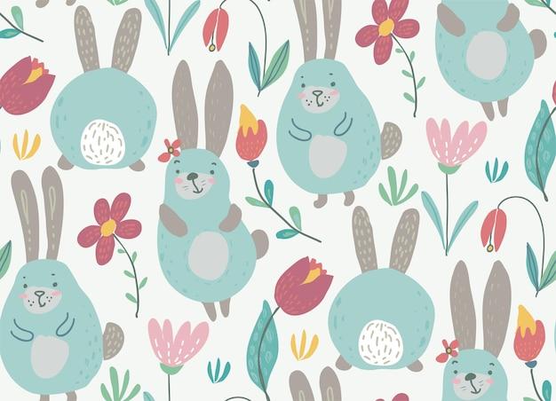 Padrão sem emenda de vetor com coelhos e flores