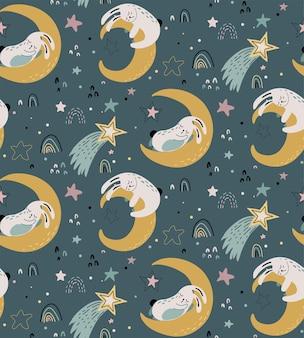 Padrão sem emenda de vetor com coelhos fofos dormindo na lua e nas estrelas