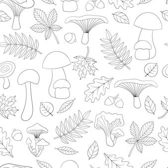 Padrão sem emenda de vetor com cogumelos comestíveis e folhas de outono, página para colorir para crianças e adultos