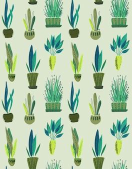 Padrão sem emenda de vetor com coleção de plantas caseiras em vasos