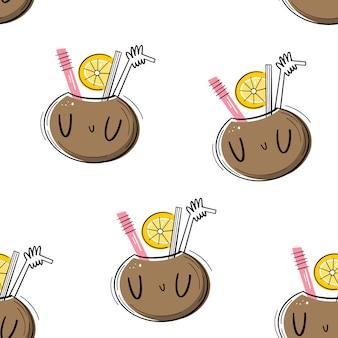 Padrão sem emenda de vetor com coquetel no coco. apartamento, estilo doodle