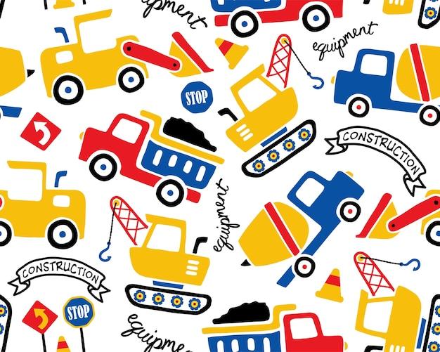 Padrão sem emenda de vetor com desenhos animados de veículos de construção
