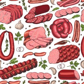 Padrão sem emenda de vetor com diferentes produtos de carne