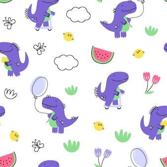Padrão sem emenda de vetor com dinossauros. estilo dos desenhos animados. impressão infantil