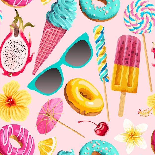 Padrão sem emenda de vetor com doces de verão