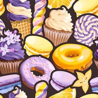 Padrão sem emenda de vetor com doces violetas e amarelos