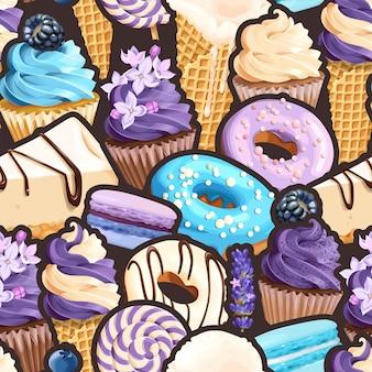 Padrão sem emenda de vetor com doces