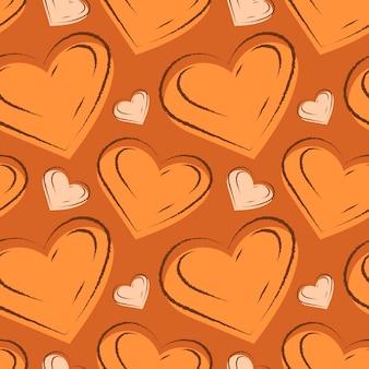 Padrão sem emenda de vetor com doodle corações com traços de desenhos animados.