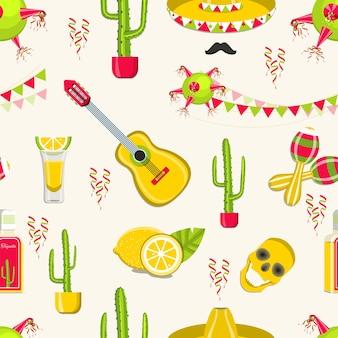 Padrão sem emenda de vetor com elementos de decoração de celebração tradicional do méxico.