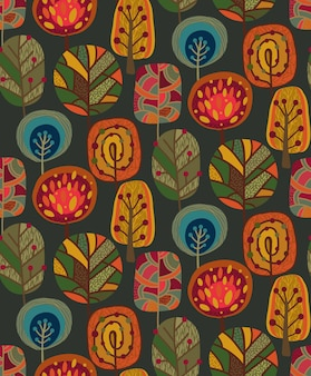 Padrão sem emenda de vetor com elementos de outono, queda de belas árvores brilhantes. fundo colorido e infinito.