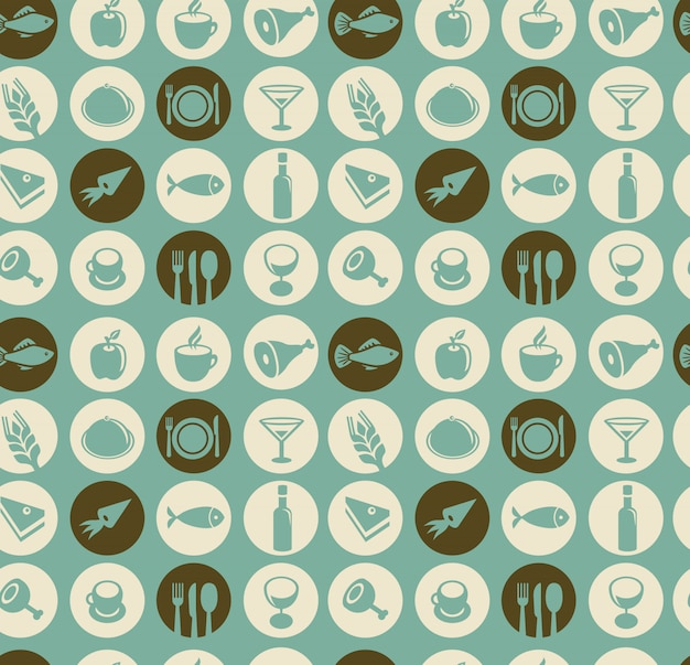 Padrão sem emenda de vetor com elementos de restaurante e comida