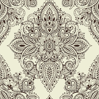 Padrão sem emenda de vetor com elementos florais de henna mehndi de mão desenhada. fundo bonito e infinito em estilo oriental indiano