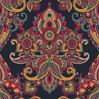Padrão sem emenda de vetor com elementos florais de henna mehndi de mão desenhada. fundo colorido e infinito bonito no estilo oriental indiano em cores brilhantes