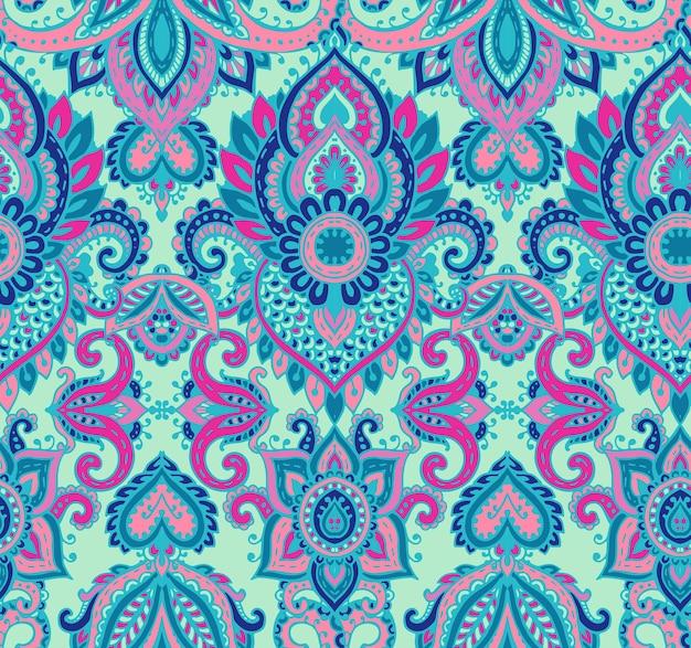 Padrão sem emenda de vetor com elementos florais de henna mehndi de mão desenhada. fundo colorido e infinito bonito no estilo oriental indiano nas cores azuis