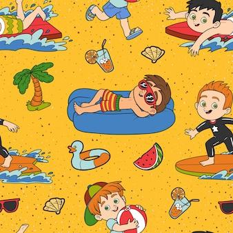 Padrão sem emenda de vetor com férias de verão, conjunto de meninos em fundo amarelo