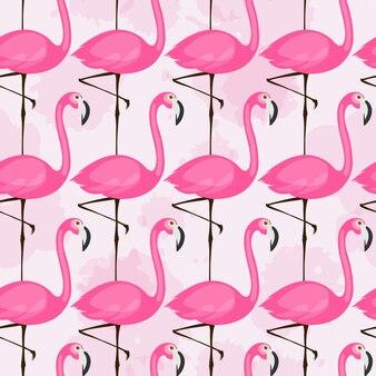 Padrão sem emenda de vetor com flamingos rosa em fundo claro