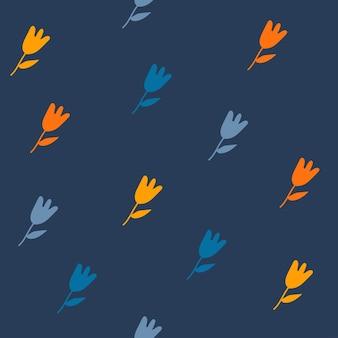 Padrão sem emenda de vetor com flores coloridas doodle flores em um fundo azul escuro