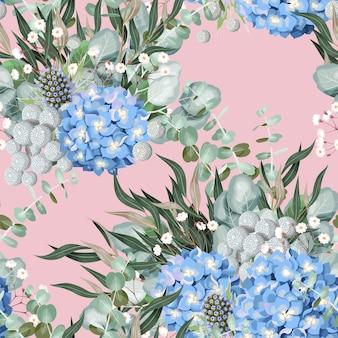 Padrão sem emenda de vetor com flores de hortênsia altamente detalhadas e folhagem em fundo rosa