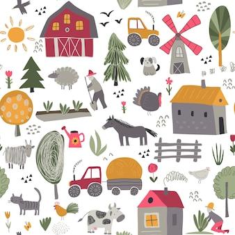 Padrão sem emenda de vetor com fofa mão desenhada animais de fazenda árvores casas trator moinho