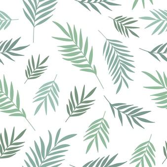 Padrão sem emenda de vetor com folhas de galhos de plantas
