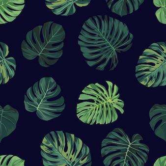 Padrão sem emenda de vetor com folhas de palmeira monstera verde sobre fundo escuro. verão tropical.