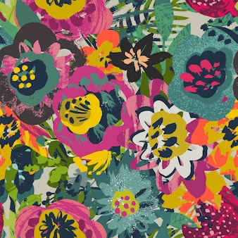 Padrão sem emenda de vetor com folhas de plantas e buquês de flores com textura pintada à mão