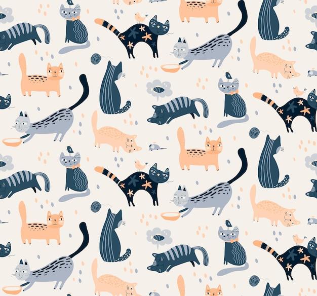 Padrão sem emenda de vetor com gatos bonitos em estilo simples e plano